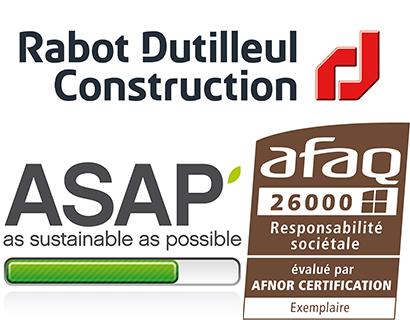 Rabot Dutilleul Construction certifiée exemplaire en éco-conception